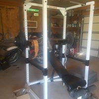 Body Solid Power rack w/bench, bar, 300 lbs, curl bar, Smartlock dumbells w/95lbs & mats great cond.